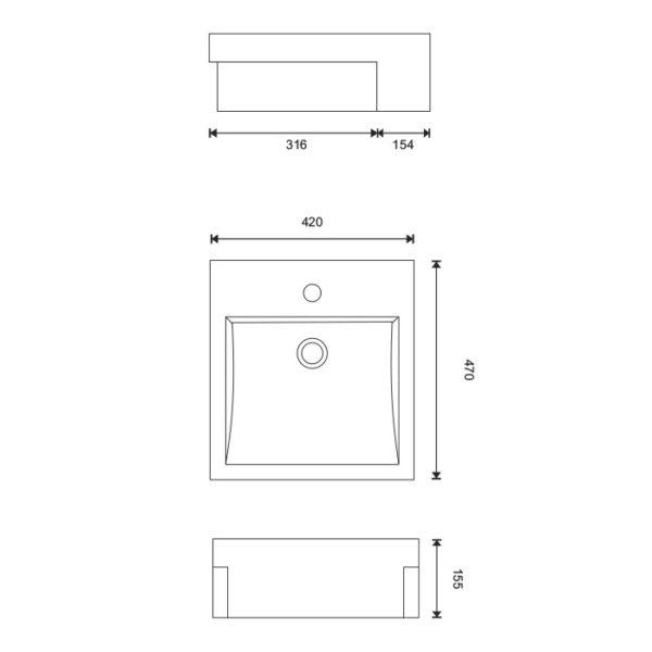 Cube 420 Semi-recessed Basin