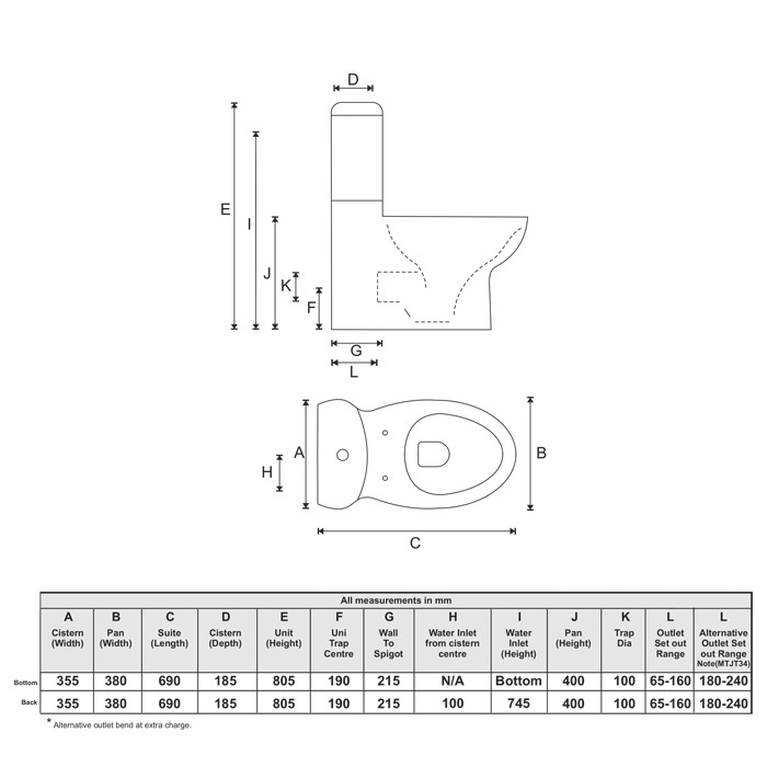 Liberty Wall Faced Toilet (Back Inlet)