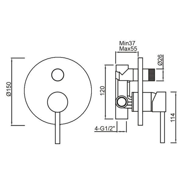 Perno Shower Diverter Mixer